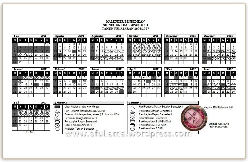 Kalender Pendidikan 2006 2007 Efullama