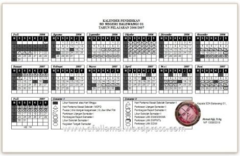 Kalender Tahun Pelajaran 2006/2007