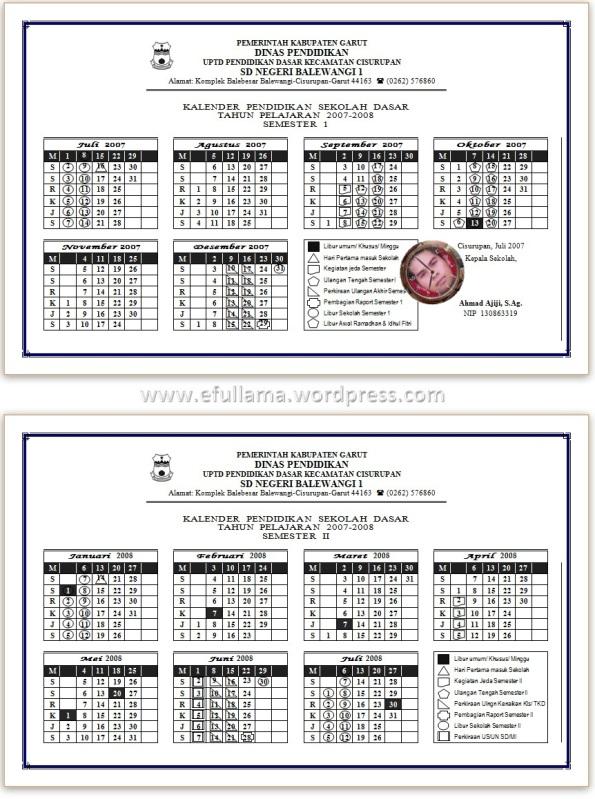 Kalender Tahun Pelajaran 2007/2008