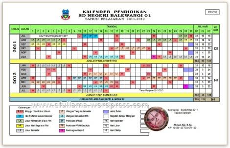 Kelender Tahun Pelajaran 2011/2012