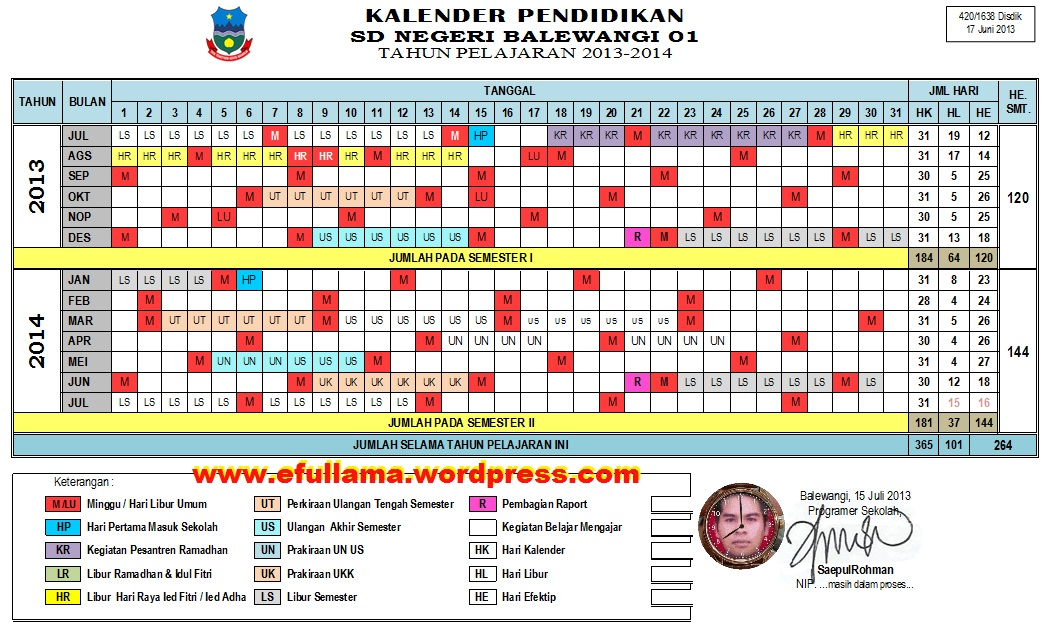 Kalender Pendidikan 2013 2014 Versi Efullama Efullama