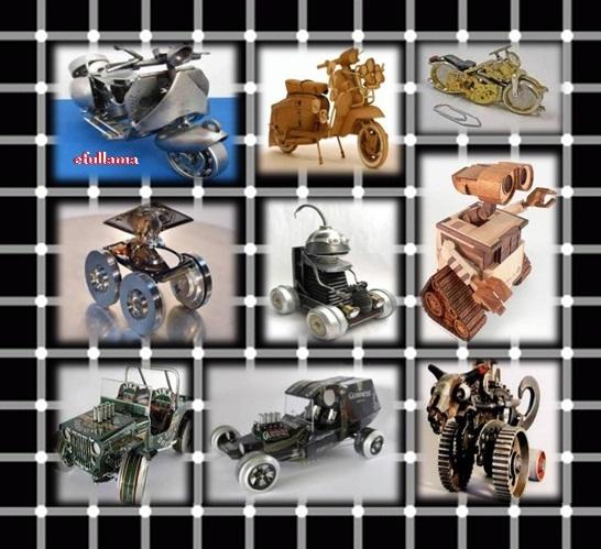 Beberapa bentuk kendaraan dari daur ulang barang bekas