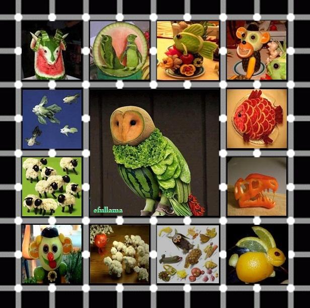 Bentuk beberapa hewan dari aneka buah