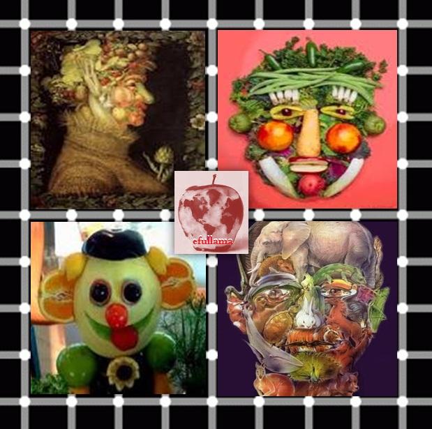 Lukisan wajah dari bahan baku buah, sayuran dan bentuk hewan