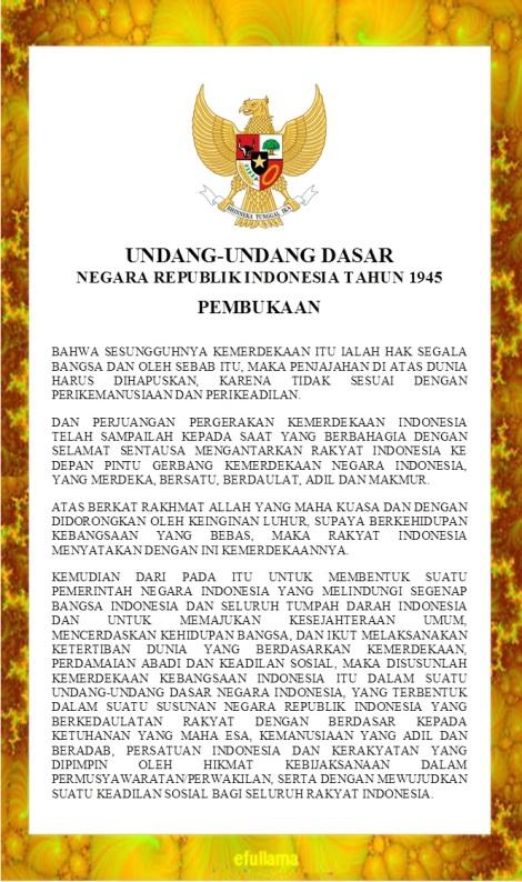 Teks Pembukaan Undang Udang Dasar Tahun 1945