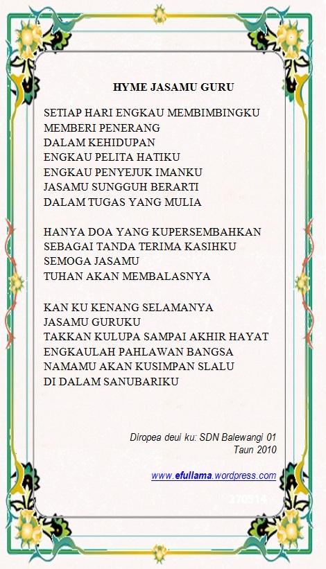 lirik lagu samen Hymne Jasamu Guru by efullama