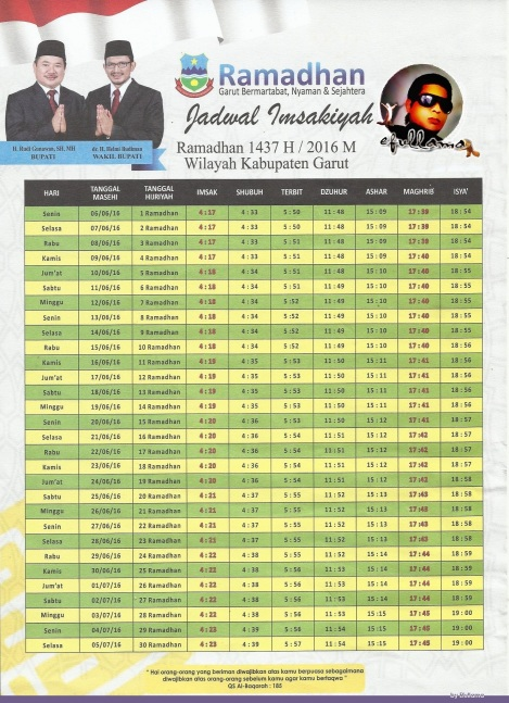 Jadwal Imsyakiah Ramadhan 1437 H