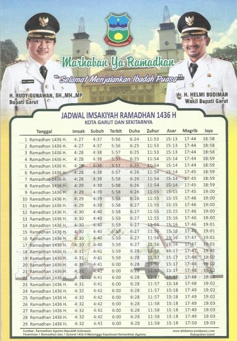 Jadwal Imsakiyah Ramadhan 1436 H Kab. Garut