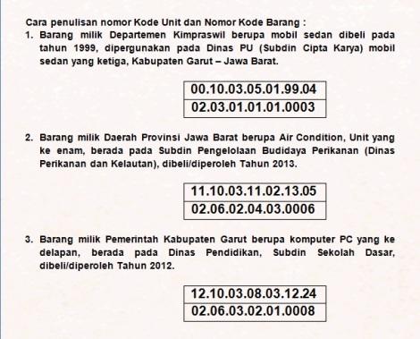 c kode nomor register barang