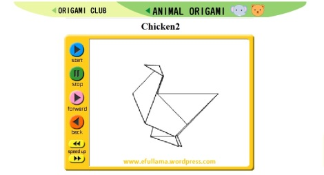 15 icon origami animasi chicken by efullama