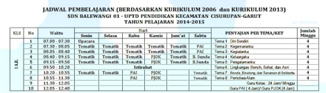 jadwal pelajaran kurikulum 2013 umum 1 by efullama