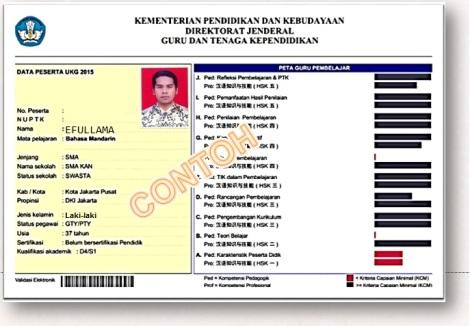 Contoh Nilai Raport UKG 2015