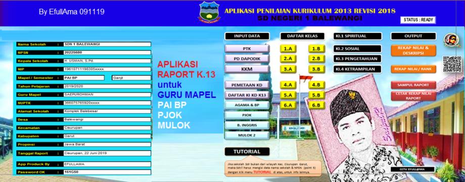 Aplikasi All In One Raport K13 Untuk Mapel Pai Pjok Mulok Efullama